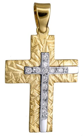 Σταυροί Βάπτισης - Αρραβώνα ΜΑΤ ΔΙΧΡΩΜΟΣ ΣΤΑΥΡΟΣ ΠΕΤΡΑΤΟΣ 015100 015100 Γυναικείο Χρυσός 14 Καράτια