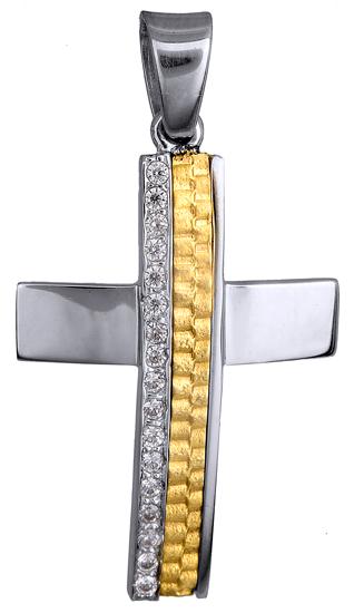 Σταυροί Βάπτισης - Αρραβώνα ΒΑΠΤΙΣΤΙΚΟΣ ΔΙΧΡΩΜΟΣ ΠΕΤΡΑΤΟΣ ΣΤΑΥΡΟΣ Κ9 015105 015105 Γυναικείο Χρυσός 9 Καράτια
