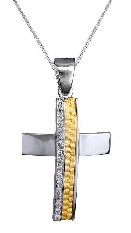 Βαπτιστικοί Σταυροί με Αλυσίδα ΒΑΠΤΙΣΤΙΚΟΣ ΔΙΧΡΩΜΟΣ ΣΤΑΥΡΟΣ Κ9 ΜΕ ΑΛΥΣΙΔΑ ΓΙΑ ΚΟΡΙΤΣΙ c015105 015105C Γυναικείο Χρυσός 9 Καράτια