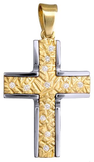 Σταυροί Βάπτισης - Αρραβώνα ΔΙΧΡΩΜΟΣ ΠΕΤΡΑΤΟΣ ΣΤΑΥΡΟΣ 14Κ 015112 Γυναικείο Χρυσός 14 Καράτια