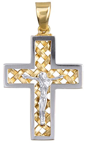 Σταυροί Βάπτισης - Αρραβώνα ΔΙΧΡΩΜΟΣ ΣΤΑΥΡΟΣ Κ9 ΜΕ ΕΣΤΑΥΡΩΜΕΝΟ 015115 Ανδρικό Χρυσός 9 Καράτια