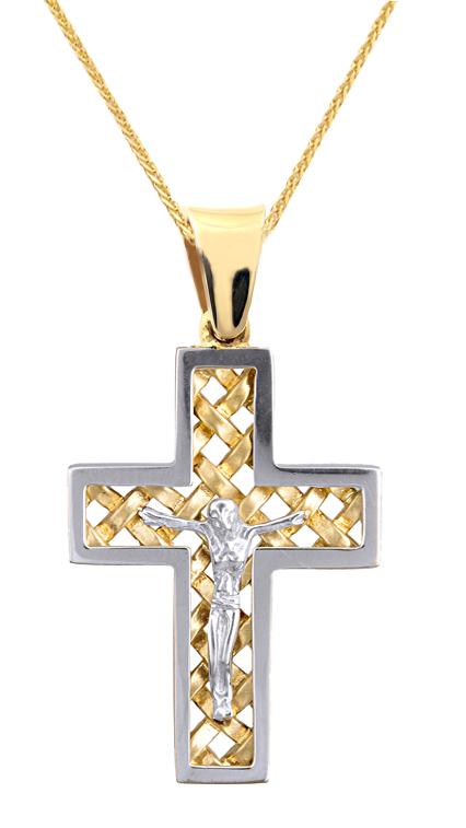 Βαπτιστικοί Σταυροί με Αλυσίδα ΑΠΕΤΡΟΣ ΔΙΧΡΩΜΟΣ ΣΤΑΥΡΟΣ ΜΕ ΑΛΥΣΙΔΑ 9Κ 015115C Ανδρικό Χρυσός 9 Καράτια