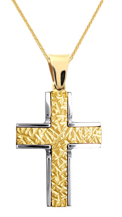 Βαπτιστικοί Σταυροί με Αλυσίδα ΔΙΧΡΩΜΟΣ ΜΑΤ | ΑΝΑΓΛΥΦΟΣ ΣΤΑΥΡΟΣ ΜΕ ΑΛΥΣΙΔΑ 015117C Ανδρικό Χρυσός 9 Καράτια