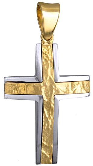 Σταυροί Βάπτισης - Αρραβώνα ΔΙΧΡΩΜΟΣ ΑΠΕΤΡΟΣ ΣΤΑΥΡΟΣ 14Κ ΓΙΑ ΒΑΠΤΙΣΗ|ΑΡΡΑΒΩΝΑ 015118 Ανδρικό Χρυσός 14 Καράτια
