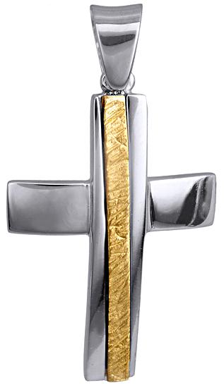 Σταυροί Βάπτισης - Αρραβώνα ΔΙΧΡΩΜΟΣ ΑΝΤΡΙΚΟΣ ΣΤΑΥΡΟΣ 9Κ 015121 Ανδρικό Χρυσός 9 Καράτια