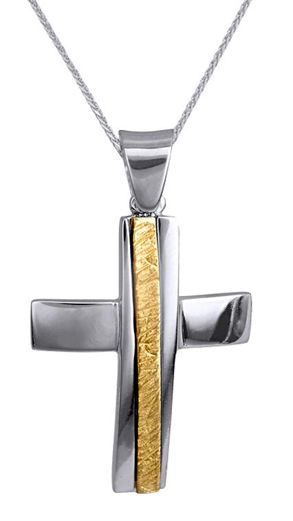 Βαπτιστικοί Σταυροί με Αλυσίδα ΑΝΤΡΙΚΟΣ ΔΙΧΡΩΜΟΣ ΣΤΑΥΡΟΣ Κ9 ΜΕ ΑΛΥΣΙΔΑ 015121C Ανδρικό Χρυσός 9 Καράτια
