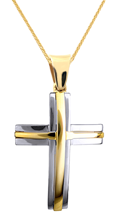 Βαπτιστικοί Σταυροί με Αλυσίδα ΣΕΤ ΑΡΡΑΒΩΝΑ | ΒΑΠΤΙΣΗΣ ΑΠΟ ΔΙΧΡΩΜΟ ΣΤΑΥΡΟ ΚΑΙ ΑΛΥΣΙΔΑ 14Κ 015122C Ανδρικό Χρυσός 14 Καράτια