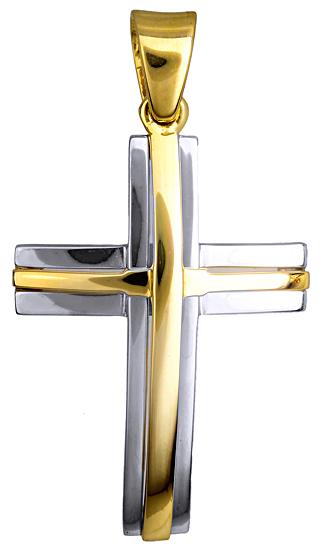 Σταυροί Βάπτισης - Αρραβώνα ΔΙΧΡΩΜΟΣ ΣΤΑΥΡΟΣ 9 ΚΑΡΑΤΙΑ 015123 Ανδρικό Χρυσός 9 Καράτια
