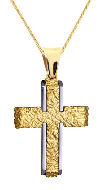 Βαπτιστικοί Σταυροί με Αλυσίδα ΑΝΑΓΛΥΦΟΣ ΔΙΧΡΩΜΟΣ ΣΤΑΥΡΟΣ ΜΕ ΑΛΥΣΙΔΑ 14Κ 015126C Ανδρικό Χρυσός 14 Καράτια
