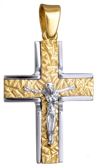 Σταυροί Βάπτισης - Αρραβώνα Δίχρωμος Σταυρός με Εσταυρωμένο 9 καράτια 015129 Ανδρικό Χρυσός 9 Καράτια