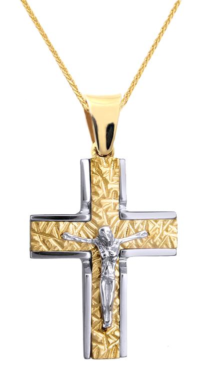 Βαπτιστικοί Σταυροί με Αλυσίδα ΑΝΑΓΛΥΦΟΣ ΑΝΤΡΙΚΟΣ ΣΤΑΥΡΟΣ ΜΕ ΕΣΤΑΥΡΩΜΕΝΟ ΜΕ ΑΛΥΣΙΔΑ Κ9 015129C Ανδρικό Χρυσός 9 Καράτια