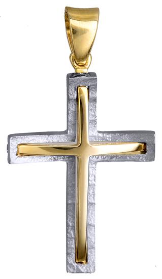 Σταυροί Βάπτισης - Αρραβώνα ΔΙΧΡΩΜΟΣ ΣΤΑΥΡΟΣ ΔΙΠΛΗΣ ΟΨΕΩΣ 14Κ 015132 Ανδρικό Χρυσός 14 Καράτια