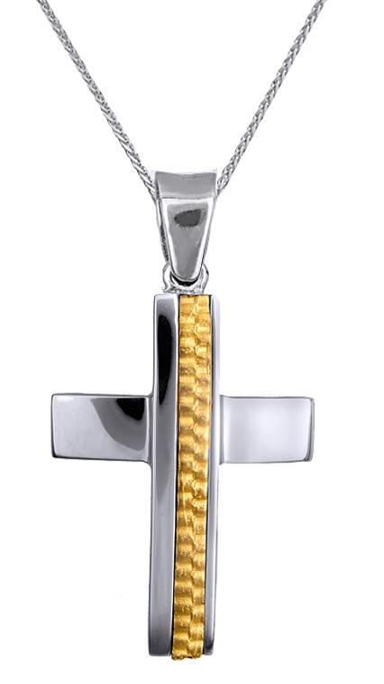 Βαπτιστικοί Σταυροί με Αλυσίδα ΑΝΔΡΙΚΟΣ ΔΙΧΡΩΜΟΣ ΣΤΑΥΡΟΣ Κ9 ΜΕ ΑΛΥΣΙΔΑ 015135C Α σταυροί βάπτισης   γάμου βαπτιστικοί σταυροί με αλυσίδα