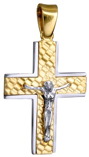 Σταυροί Βάπτισης - Αρραβώνα Δίχρωμος Κλασικός Σταυρός 14Κ με Εσταυρωμένο 015136 015136 Ανδρικό Χρυσός 14 Καράτια