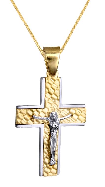 Βαπτιστικοί Σταυροί με Αλυσίδα ΔΙΧΡΩΜΟΣ ΣΤΑΥΡΟΣ Κ14 ΜΕ ΕΣΤΑΥΡΩΜΕΝΟ ΚΑΙ ΑΛΥΣΙΔΑ 015136C Ανδρικό Χρυσός 14 Καράτια