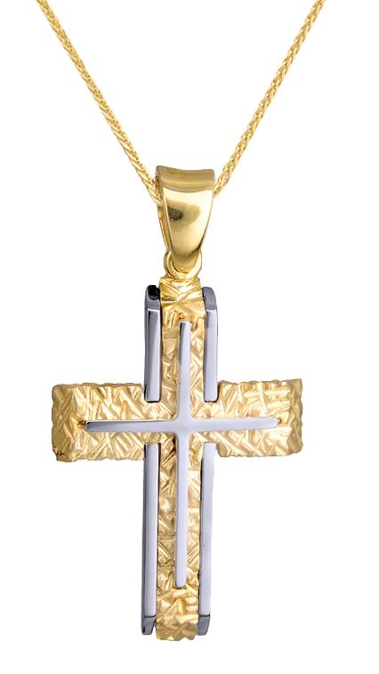 Βαπτιστικοί Σταυροί με Αλυσίδα ΔΙΧΡΩΜΟΣ ΣΤΑΥΡΟΣ ΒΑΠΤΙΣΗΣ 9Κ ΜΕ ΑΛΥΣΙΔΑ 015141C Ανδρικό Χρυσός 9 Καράτια
