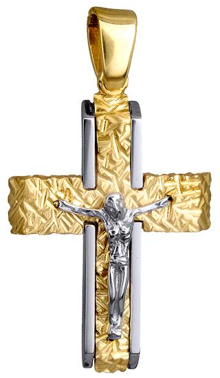 Σταυροί Βάπτισης - Αρραβώνα ΔΙΧΡΩΜΟΣ ΑΝΤΡΙΚΟΣ ΣΤΑΥΡΟΣ Κ9 ΜΕ ΕΣΤΑΥΡΩΜΕΝΟ 015143 Ανδρικό Χρυσός 9 Καράτια