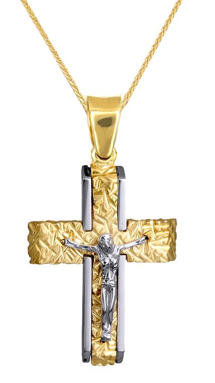 Βαπτιστικοί Σταυροί με Αλυσίδα ΔΙΧΡΩΜΟΣ ΣΤΑΥΡΟΣ ΜΕ ΕΣΤΑΥΡΩΜΕΝΟ 9Κ ΚΑΙ ΑΛΥΣΙΔΑ 015143C Ανδρικό Χρυσός 9 Καράτια