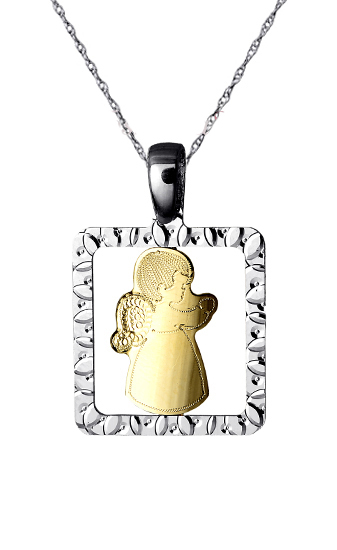Δίχρωμο Αγγελούδι 14Κ Με Αλυσίδα 015155C Χρυσός 14 Καράτια