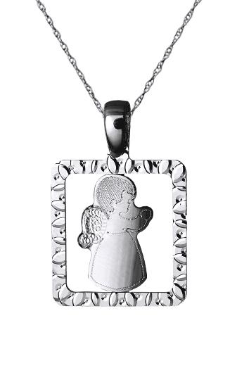 Λευκόχρυσο Αγγελάκι 14Κ με αλυσίδα 015156C Χρυσός 14 Καράτια