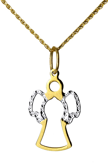 Δίχρωμος 'γγελος 14Κ Με Αλυσίδα 015161C Χρυσός 14 Καράτια