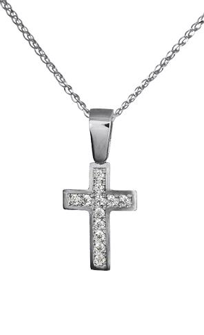 Λευκόχρυσος σταυρός με αλυσίδα c015190 015190C Χρυσός 14 Καράτια χρυσά κοσμήματα σταυροί