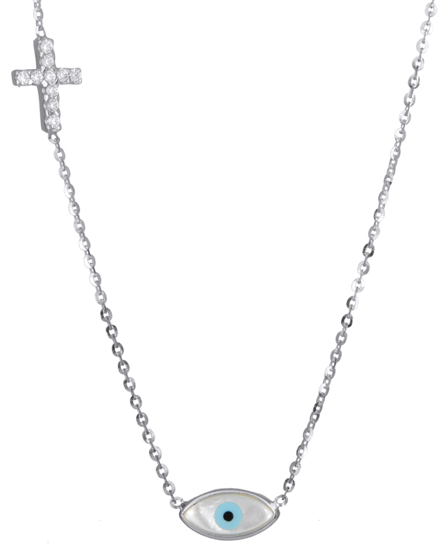 Κολιέ με ματάκι και πετράτο σταυρό Κ14 015205 015205 Χρυσός 14 Καράτια