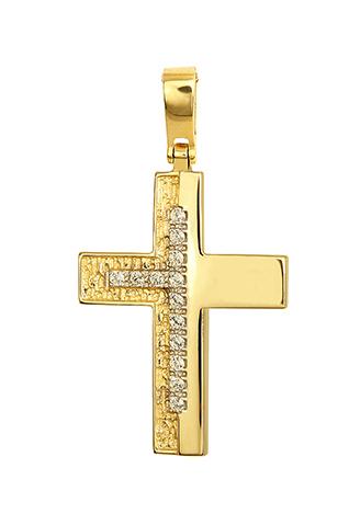 Σταυροί Βάπτισης - Αρραβώνα Χρυσός Γυναικείος Σταυρός 14Κ Με Ζιργκόν 015238 Γυναικείο Χρυσός 14 Καράτια