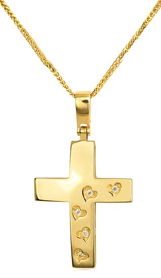 Βαπτιστικοί Σταυροί με Αλυσίδα Χρυσός Σταυρός 14Κ Με Καρδούλες 015242C Γυναικείο Χρυσός 14 Καράτια