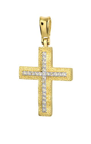 Σταυροί Βάπτισης - Αρραβώνα Χρυσός Σταυρός 14Κ Με Ζιργκόν 015262 Γυναικείο Χρυσός 14 Καράτια