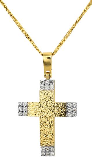 Βαπτιστικοί Σταυροί με Αλυσίδα Γυναικείος Σταυρός 015265C Γυναικείο Χρυσός 14 Καράτια