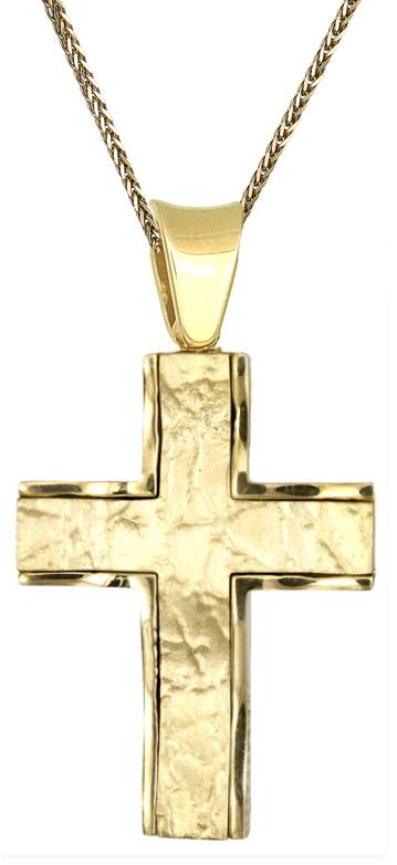 Βαπτιστικοί Σταυροί με Αλυσίδα Χρυσός σταυρός Κ18 c015408 015408C Ανδρικό Χρυσός 18 Καράτια