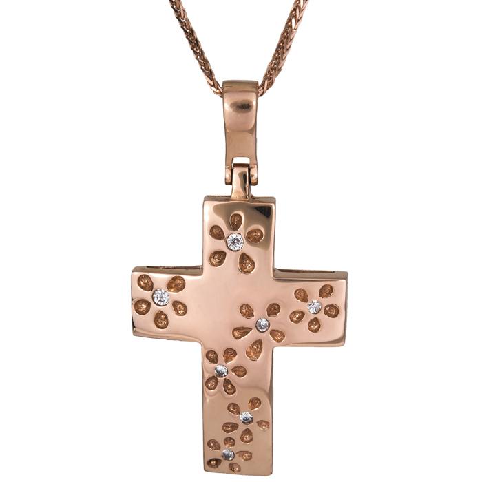 Βαπτιστικοί Σταυροί με Αλυσίδα Χρυσός Βαπτιστικός Σταυρός 015473C Γυναικείο Χρυσός 14 Καράτια
