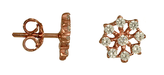 Σκουλαρίκια Ροζ Gold 015487 Χρυσός 14 Καράτια