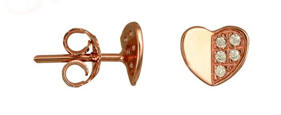 ΣΚΟΥΛΑΡΙΚΙΑ ΚΑΡΔΙΑ 015495 Χρυσός 14 Καράτια χρυσά κοσμήματα σκουλαρίκια καρφωτά