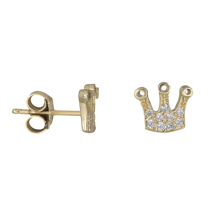 Χρυσά σκουλαρίκια κορώνα Κ14 015812 015812 Χρυσός 14 Καράτια