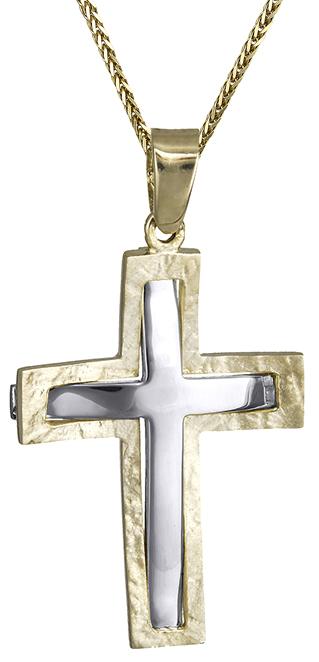 Βαπτιστικοί Σταυροί με Αλυσίδα Ανδρικός σταυρός Κ14 C015974 015974C Ανδρικό Χρυσός 14 Καράτια