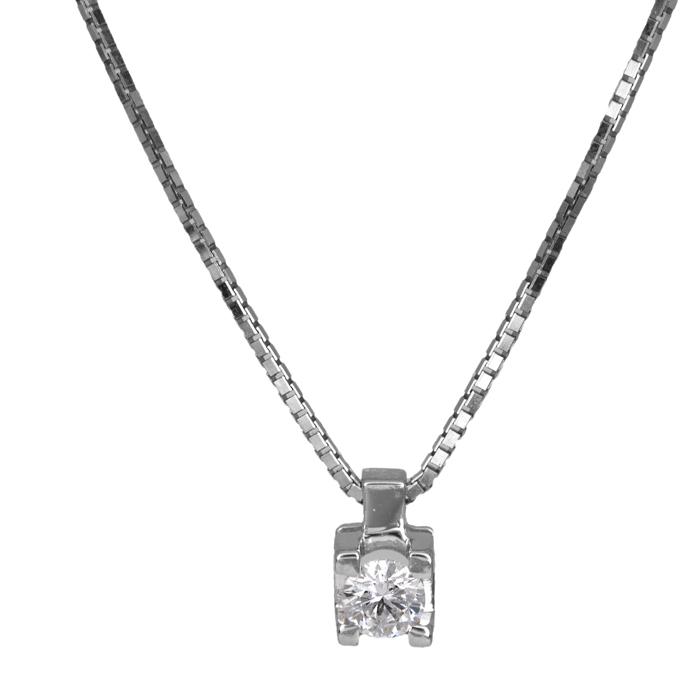 Λευκόχρυσο Κολιέ Μονόπετρο Κ18 016120 016120 Χρυσός 18 Καράτια
