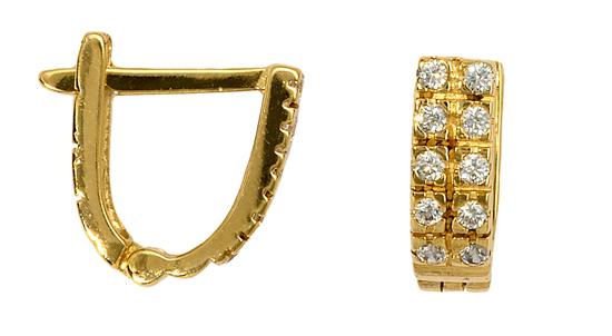 Χρυσοί Κρίκοι Με Ζιργκόν 016159 016159 Χρυσός 14 Καράτια χρυσά κοσμήματα σκουλαρίκια καρφωτά