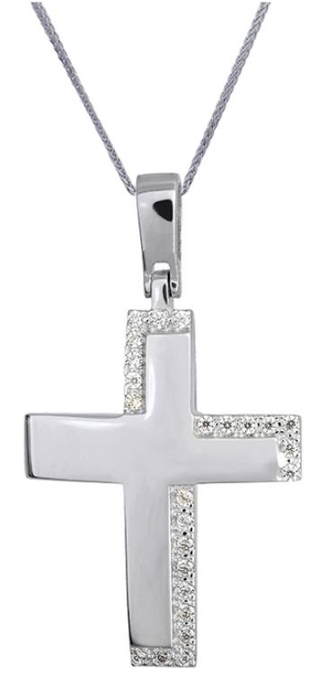 Βαπτιστικοί Σταυροί με Αλυσίδα ΓΥΝΑΙΚΕΙΟΙ ΣΤΑΥΡΟΙ ΛΕΥΚΟΧΡΥΣΟΙ c016173 016173C Γυναικείο Χρυσός 14 Καράτια