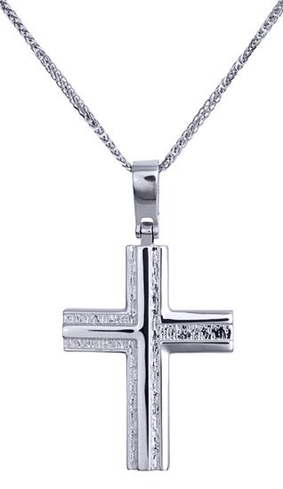 Βαπτιστικοί Σταυροί με Αλυσίδα Λευκόχρυσος σταυρός βάφτισης 016180C Ανδρικό Χρυσός 14 Καράτια