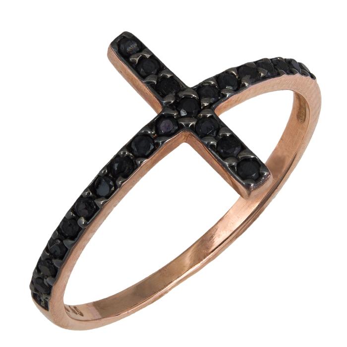 Δαχτυλίδι Ροζ Gold με Σταυρό 016256 Χρυσός 14 Καράτια