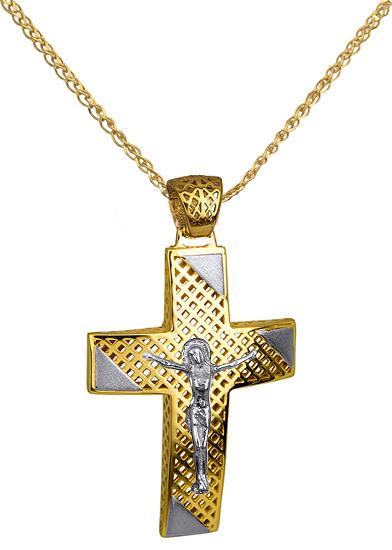 Βαπτιστικοί Σταυροί με Αλυσίδα ΣΤΑΥΡΟΣ ΒΑΠΤΙΣΗΣ ΑΓΟΡΙ C016264 016264C Ανδρικό Χρυσός 14 Καράτια