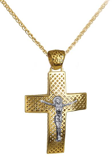 Βαπτιστικοί Σταυροί με Αλυσίδα ΣΤΑΥΡΟΣ ΑΡΡΑΒΩΝΑ - ΒΑΠΤΙΣΗΣ C016265 016265C Ανδρικό Χρυσός 14 Καράτια