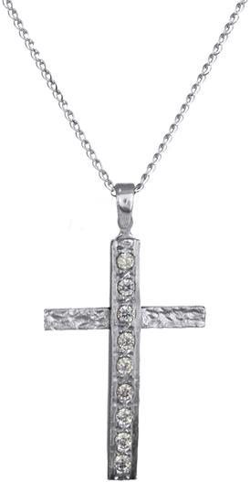 Βαπτιστικοί Σταυροί με Αλυσίδα Λευκόχρυσοι σταυροί γυναικείοι C016423 016423C Γυναικείο Χρυσός 14 Καράτια