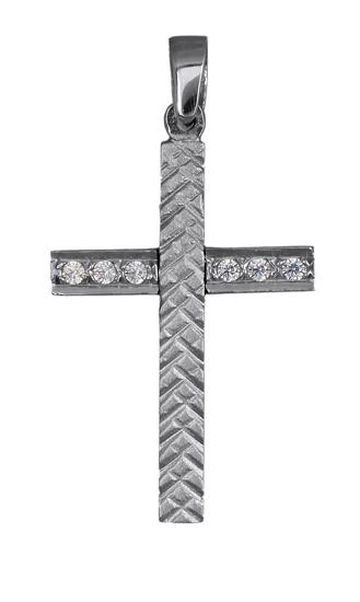 Σταυροί Βάπτισης - Αρραβώνα Λευκόχρυσος σταυρός με ζιργκόν 016424 016424 Γυναικείο Χρυσός 14 Καράτια