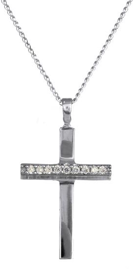 Σταυρός Λευκόχρυσος με Αλυσίδα C016426 016426C Χρυσός 14 Καράτια
