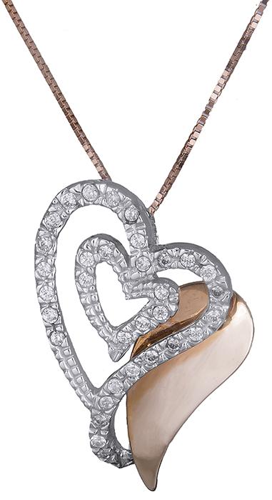 Κολιέ με δίχρωμη καρδιά Κ14 016443 016443 Χρυσός 14 Καράτια