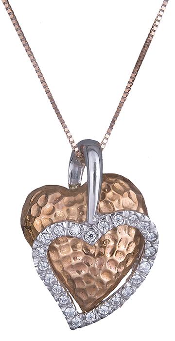 Δίχρωμο κολιέ με καρδούλες Κ14 016444 016444 Χρυσός 14 Καράτια χρυσά κοσμήματα καρδιές