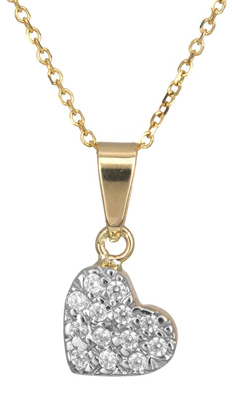 Χρυσό κολιέ με πετράτη καρδούλα Κ14 016448 016448 Χρυσός 14 Καράτια